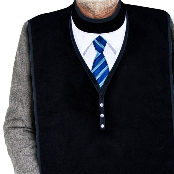 Men's Dress 'n Dine™ Adult Bibs with Sweater and Tie (2 Pack) - Classy Pal Dress 'n Dine Adult Bibs