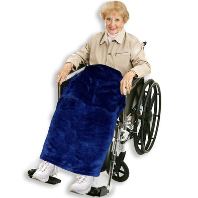 Navy Blue Adult Wheelchair Blanket with Pocket - Classy Pal Wheelchair Blankets