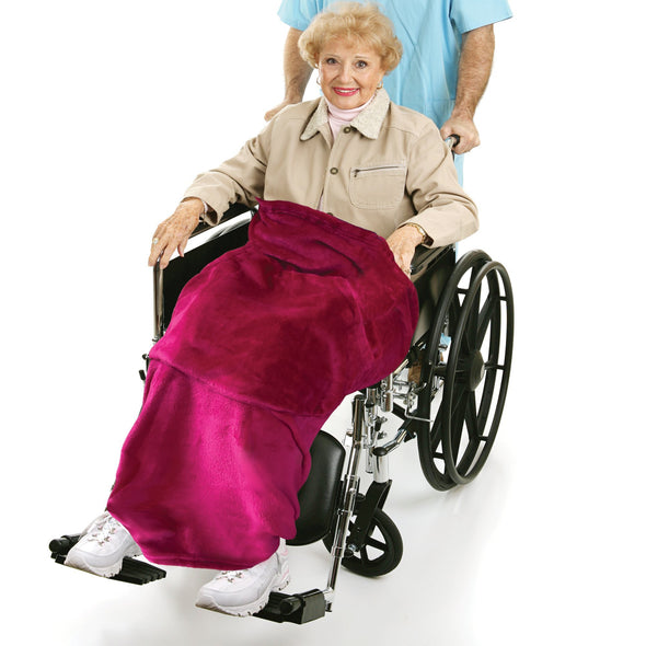 Ruby Red Adult Wheelchair Blanket with Pocket - Classy Pal Wheelchair Blankets