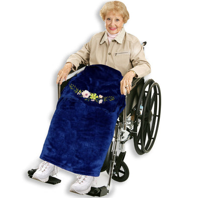 Wheelchair Blanket with Embroidered Flower - Classy Pal Wheelchair Blankets