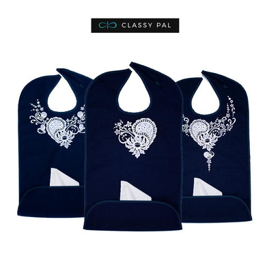 Women's Dress 'n Dine™ Adult Bibs Lace Heart, Collar and Necklace Bundle - Classy Pal Dress 'n Dine Adult Bibs