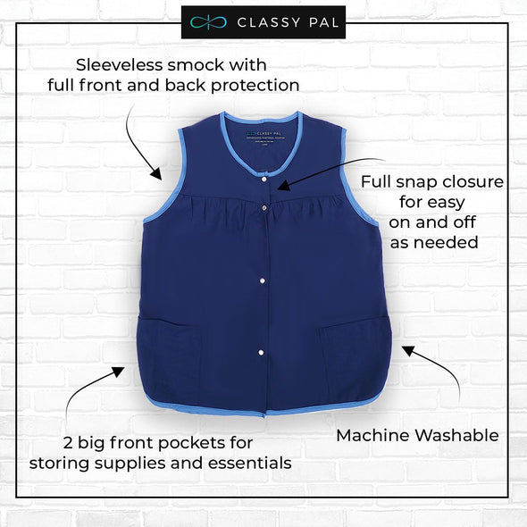 Women's Snap Front Smock Apron with Pockets (Blue) - Classy Pal Aprons