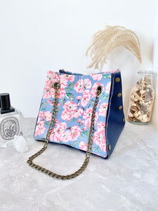 Blue leather button cube bag - cherry blossoms