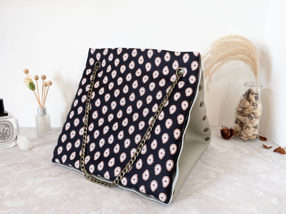 Light grey leather button cube bag - paisley dots