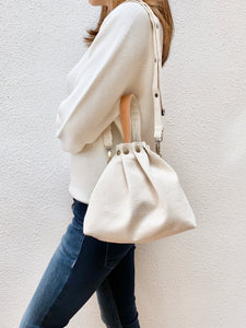 Button Fuji bag - Natural white canvas