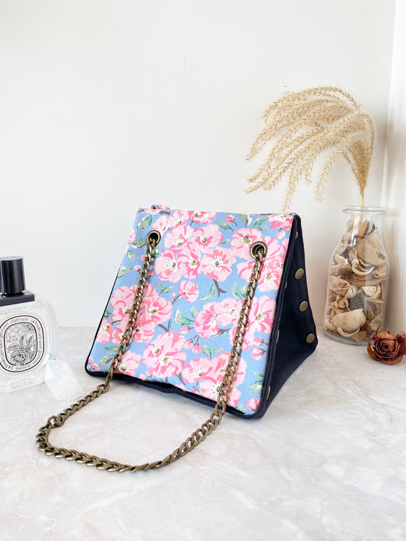 Black canvas button cube bag - cherry blossom