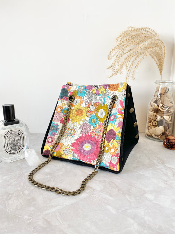 Black canvas button cube bag - yellow sunflowers