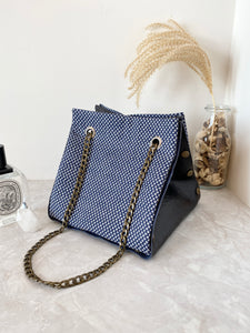 Black textured leather button cube bag - mini eye dots