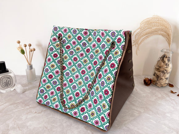 Brown leather button cube bag - green floral tiles