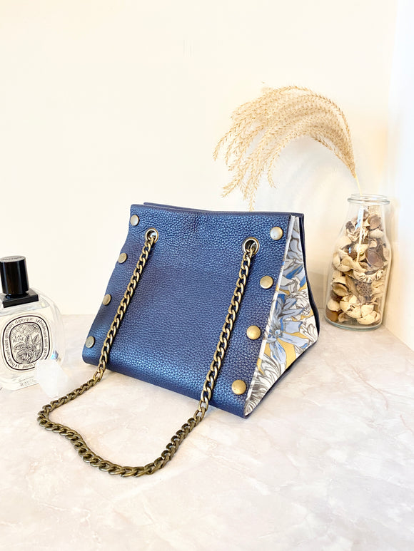 Blue leather button cube bag - custom order