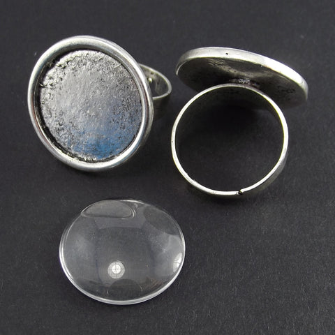 Ring Bezel Blank Round Antique Silver