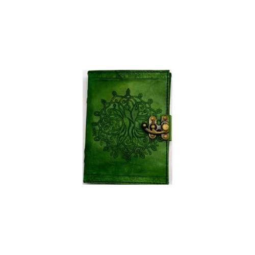 "5"" x 7"" green Tree of Life leather w/ latch"