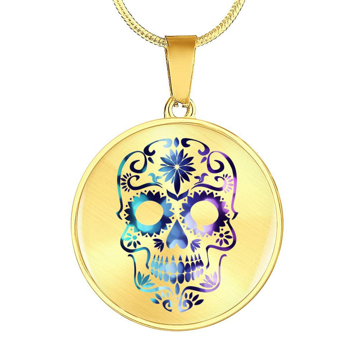Purple Glitter Day of the Dead Luxury Necklace