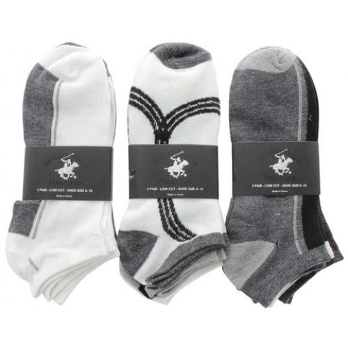 Beverly Hills Polo Club Mens Low Cut Assorted Socks 3 Pack