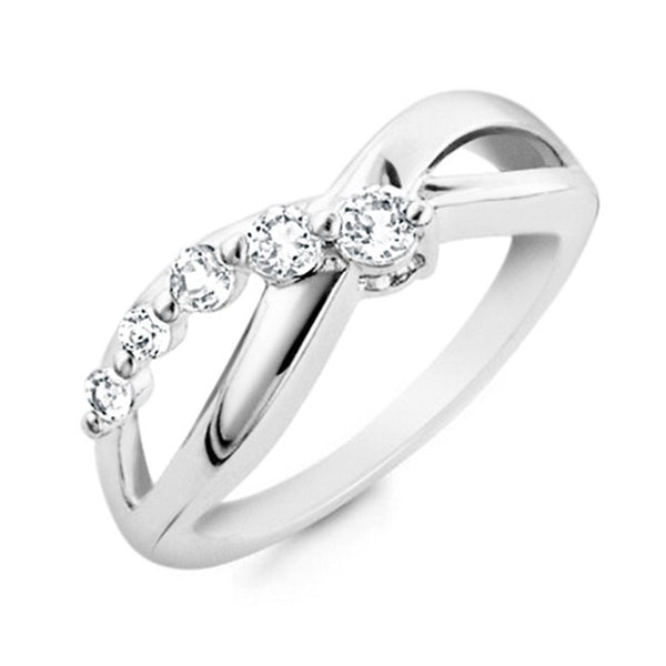 Netaya 1/2 Carat White Sapphire Infinity Ring in Sterling Silver