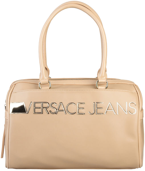 Versace Jeans Gold Logo Leather Hand Bag