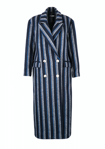 CASUAL STRIPED WOOL coat
