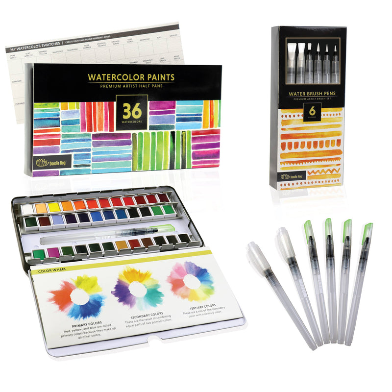 Doodle Hog - Watercolor Paint Set For Artists On-The-Go!