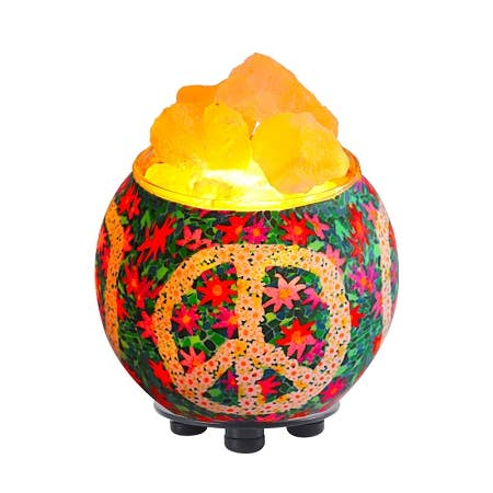 Himalayan Salt Lamp Essential Oil Diffuser - Floral Peace Sign