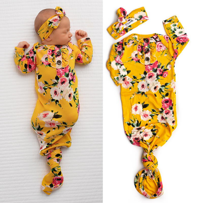 Ruffle Floral Handmade Knotted Newborn Gown Set -Bailey Yellow