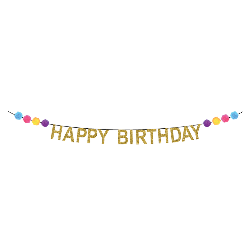 Party Partners - Pom-Pom Happy Birthday Banner