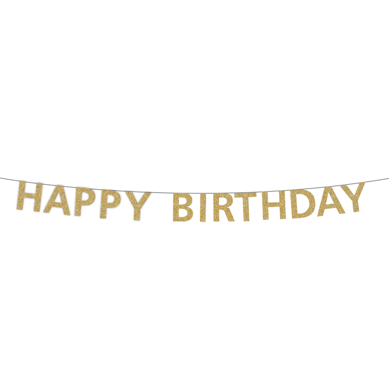 Party Partners - Gold Happy Birthday Banner