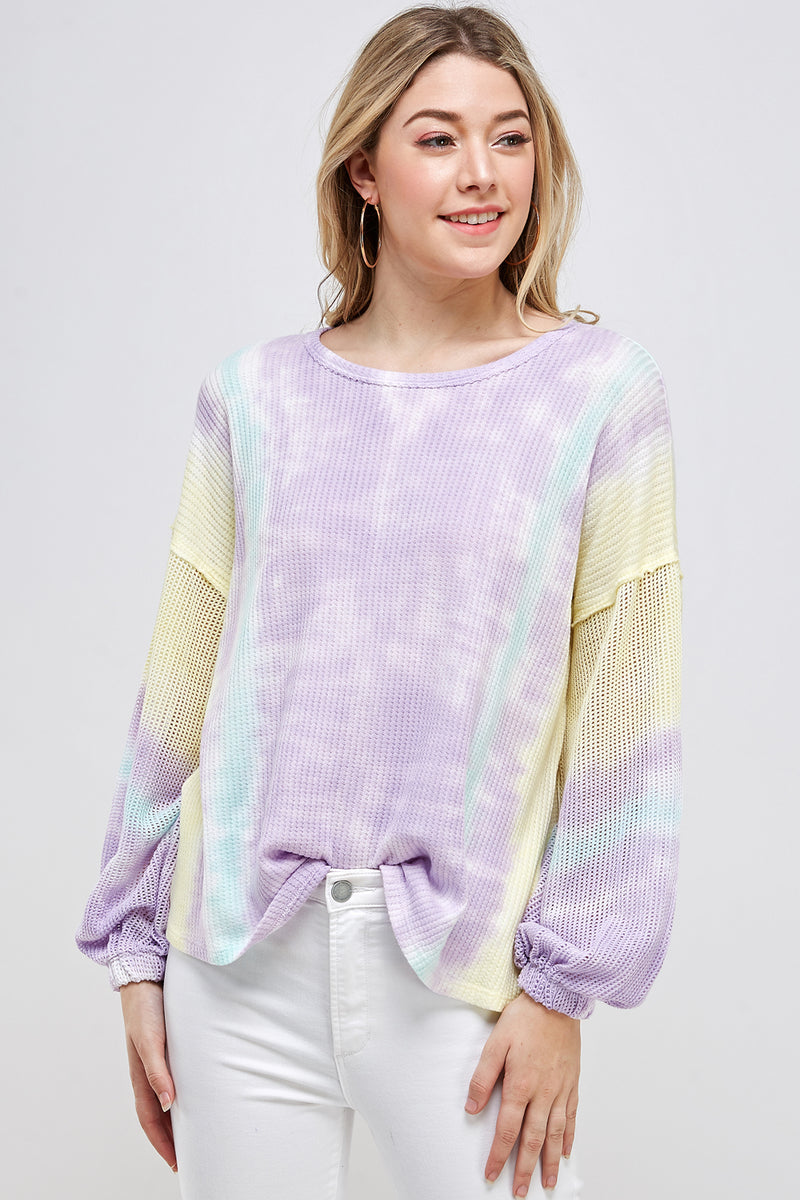 Mesh Bubble Sleeve Tie Dye Thermal Top - Lavender