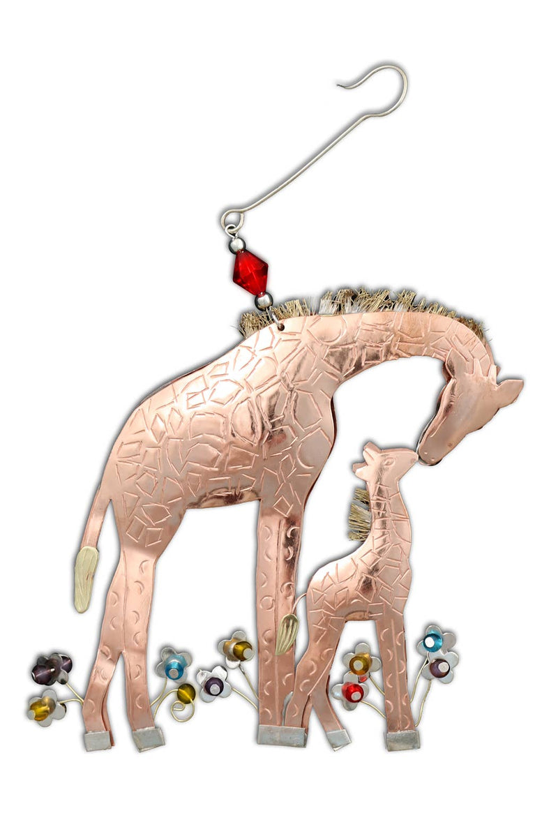 Momma and Baby Giraffe - Metal Ornament