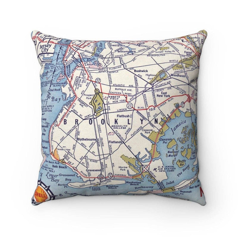 Map Pillow - Brooklyn New York Color