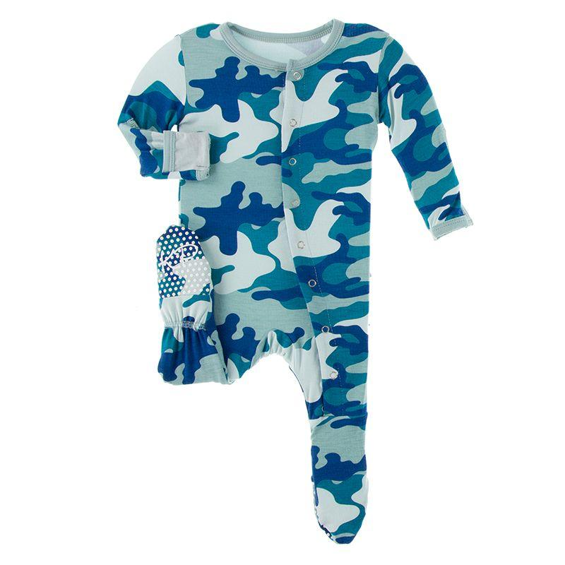 Kickee Pants Zippered Footie - Oasis Military