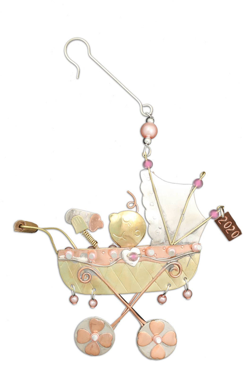 Pilgrim Imports - Baby Buggy Girl - Christmas Ornament