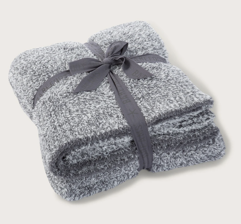 Barefoot Dreams CozyChic Heathered Throw - Charcoal/White