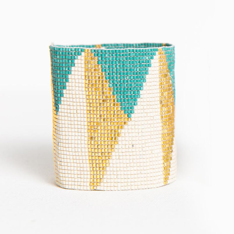 Ink + Alloy Luxe Stretch Bracelet - Teal Ivory Gold