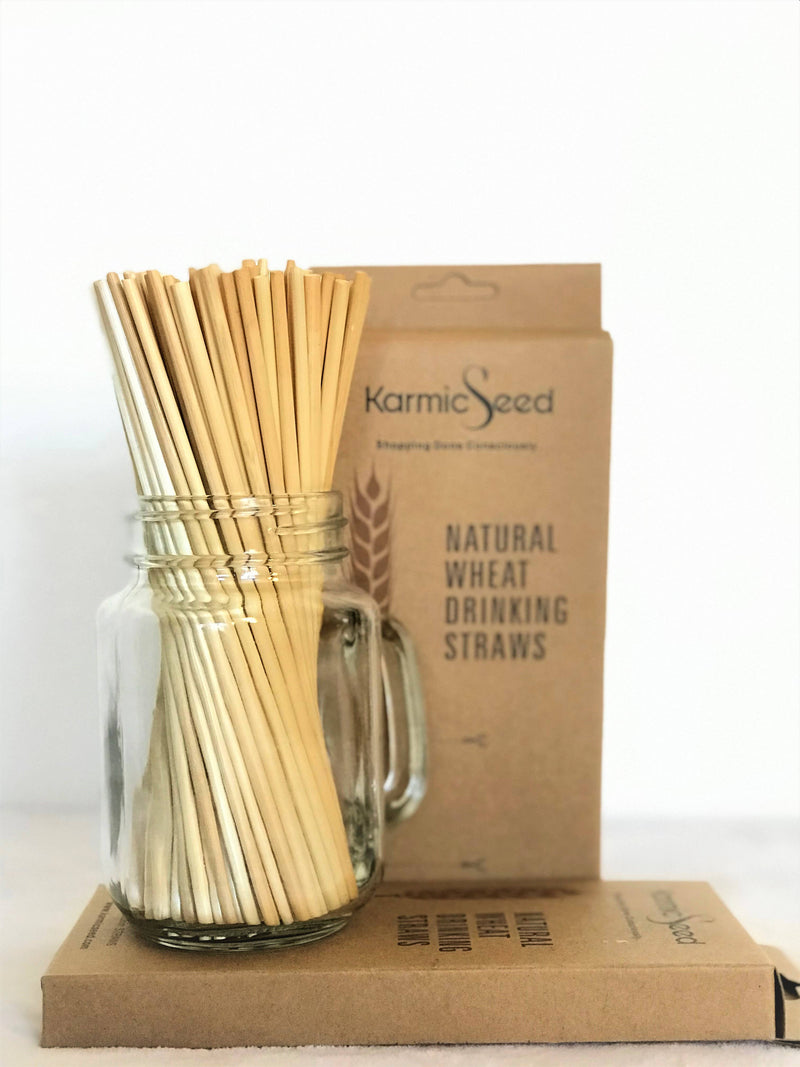 "Wheat Drinking Straws 8"" inch - Pack of 100 straws"