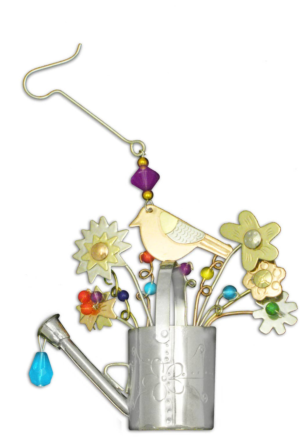 Bird Watering Can -  Metal Ornament