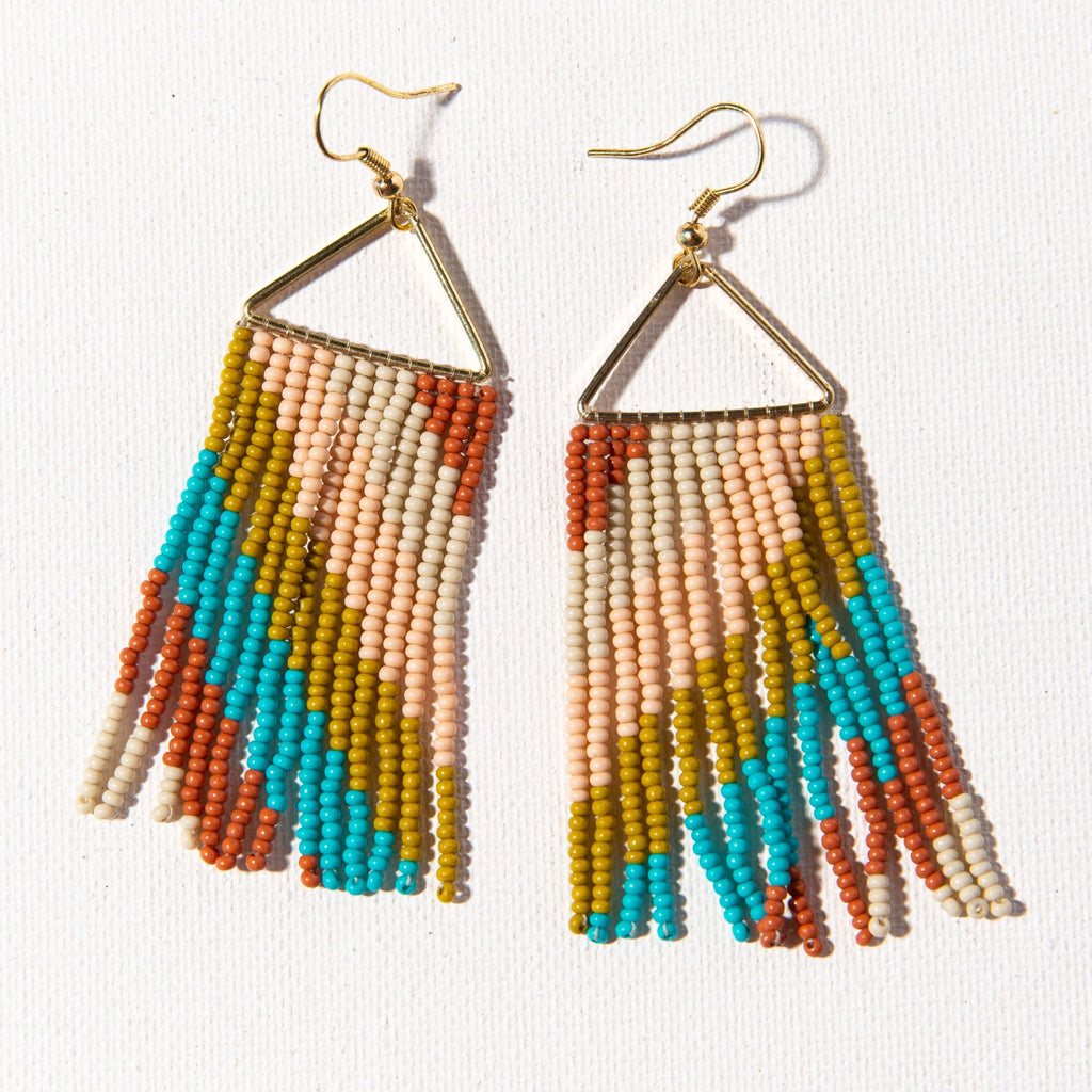 Ink + Alloy Triangle Earring - Rust Turquoise Pink Diag Stripe