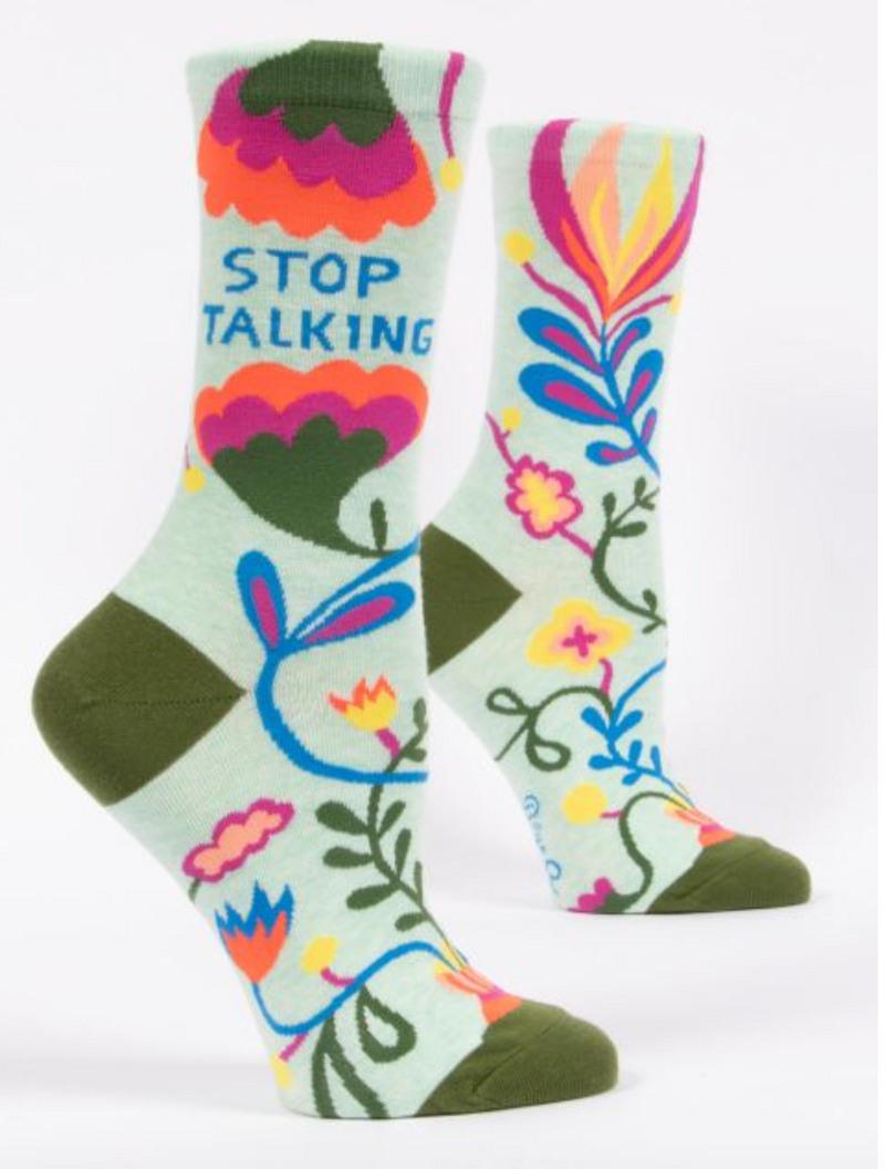 Blue Q women's Crew Socks Stop Talking