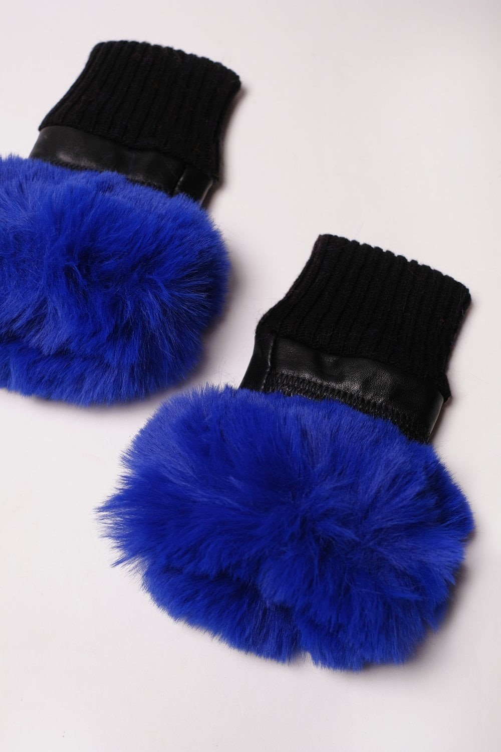 Leather & Faux Fur Fingerless Gloves