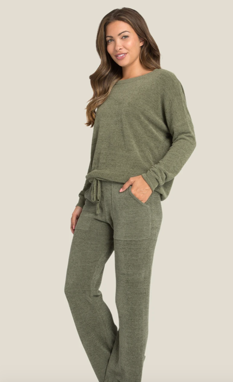 Barefoot Dreams Cozy Chic Ultra Light Slouchy Top - Olive