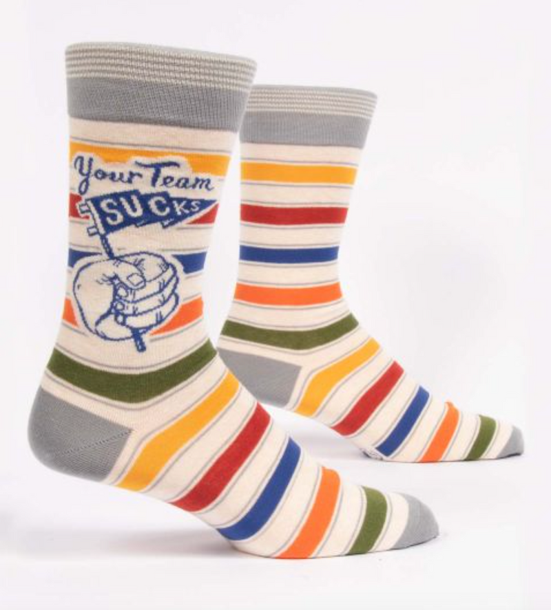 Blue Q Men's Crew Socks Your Team Sucks
