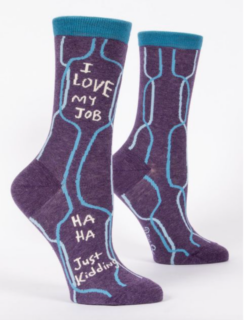 Blue Q Women's Crew Socks I Love My Job