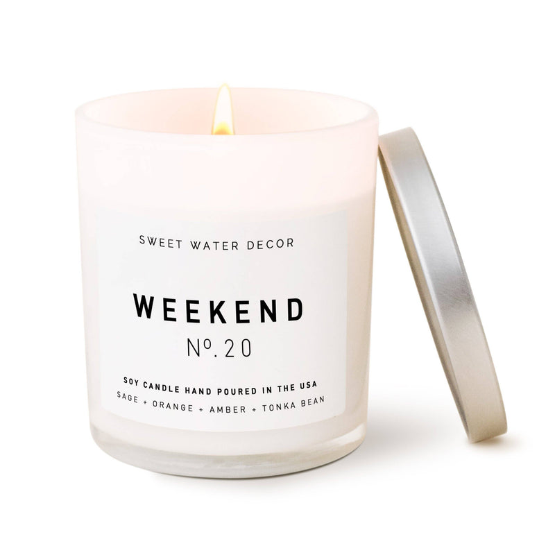 Candle- Weekend Soy Candle | White Jar Candle