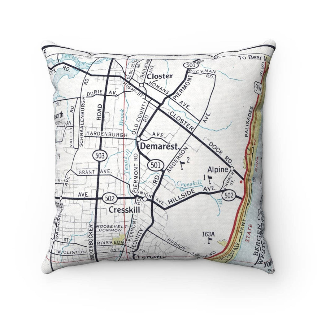 Map Pillow- Demarest New Jersey