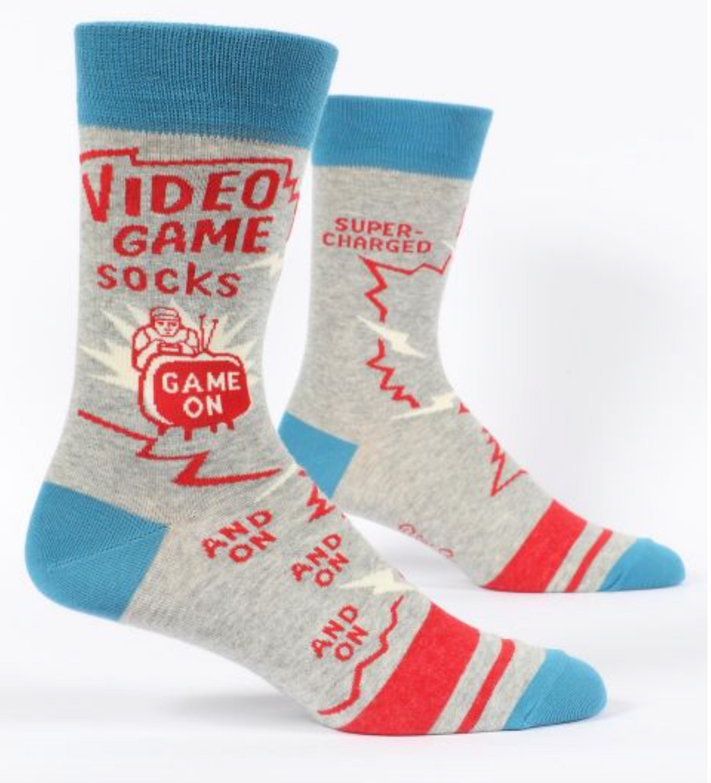 Blue Q Men's Crew Socks Video Games