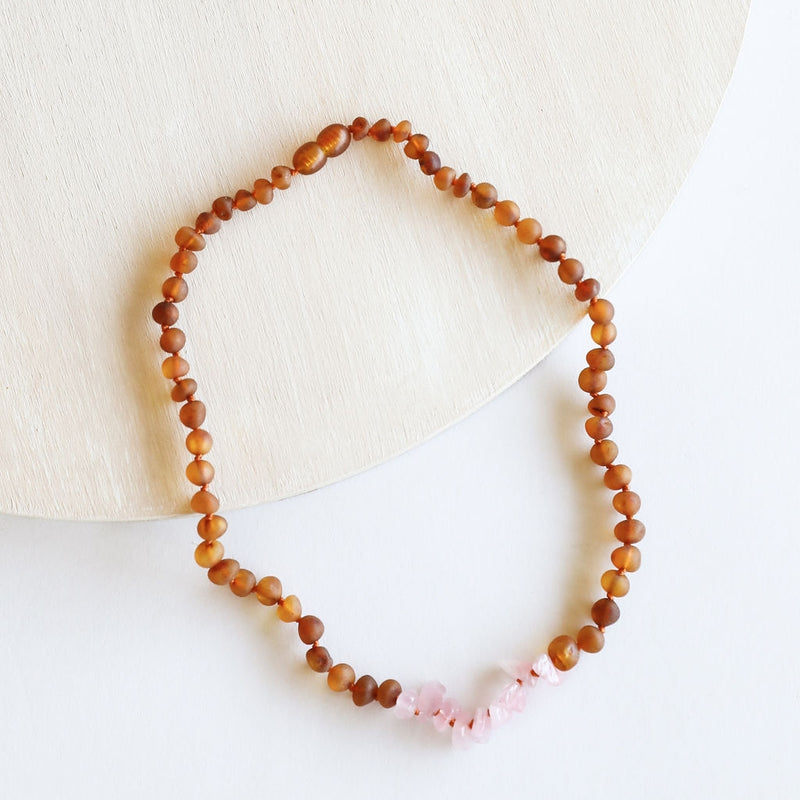 CanyonLeaf - Kids: Raw Cognac Amber + Raw Rose Quartz || Necklace