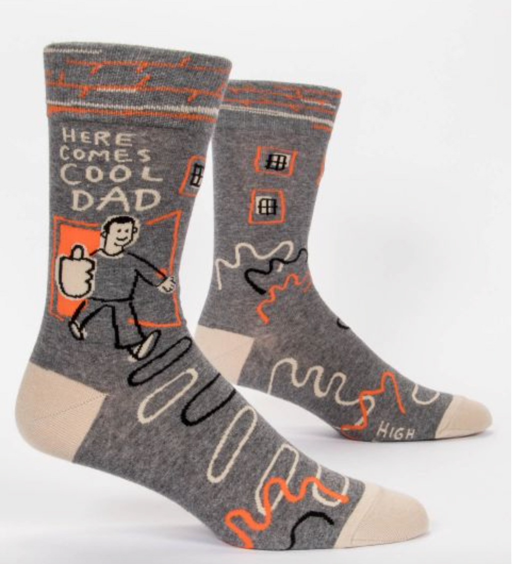 Blue Q Men's Crew Socks Here Comes Cool Dad
