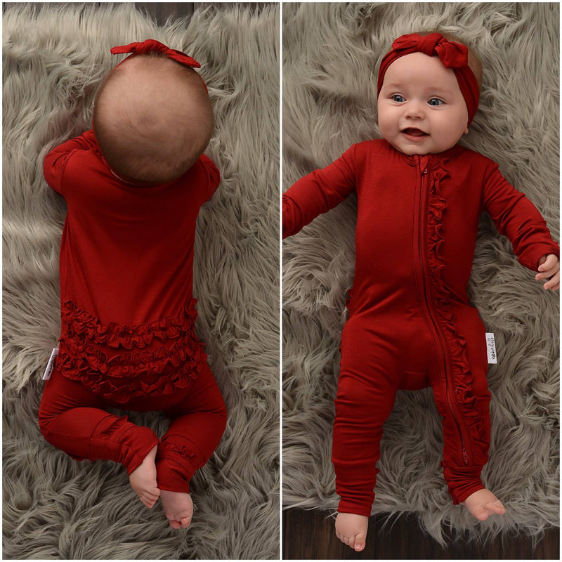 Ruffle Zip Onesie - Dark Red
