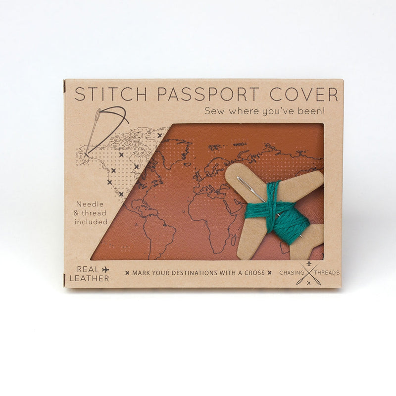 Chasing Threads - Stitch Passport Cover - Brown