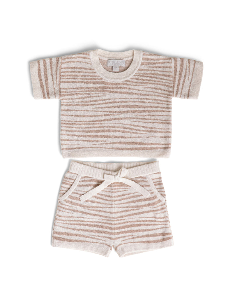 Barefoot Dreams CozyChic Toddler Short Set - Tan Animal