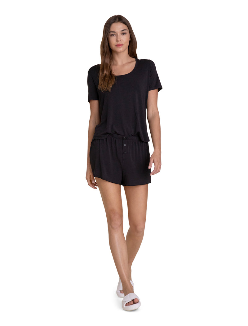 Barefoot Dreams Scoop Neck Short Set - Black